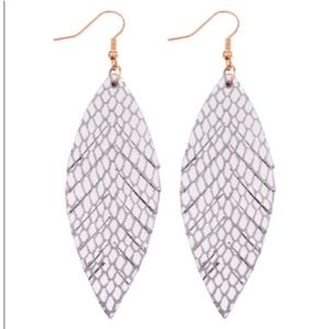 Pear Shaped Silver Faux Leather Earrings